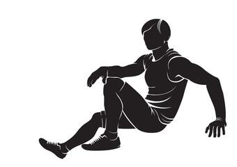 Sporty boy. Vector silhouette