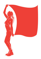 Beautiful woman with a flag. Vector silhouette against white