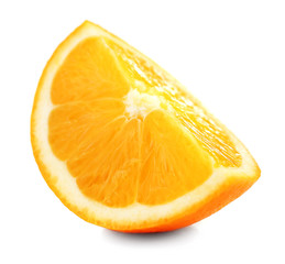Juicy slice of orange isolated on white