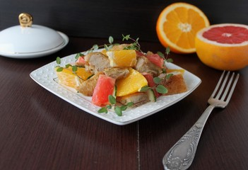 salad with chicken, orange and grapefruit