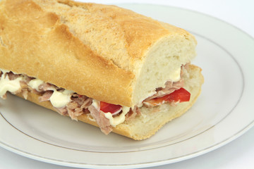 Tuna sandwich baguette with paprika and mayonnaise