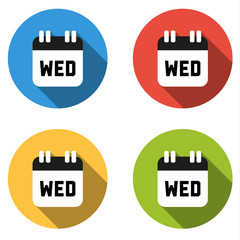 Collection of 4 isolated flat colorful buttons for Wednesday (ca