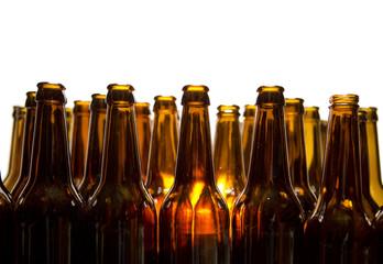 Empty glass beer bottles
