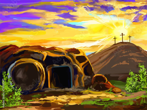 Easter Jesus Christ vector illustration  hand drawn  painted - 79519347