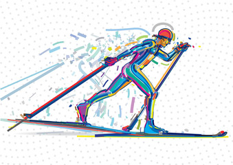 Skiing competition. Artwork in the style of paint strokes
