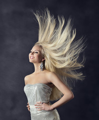 Woman Hairstyle Portrait, Flying Long Straight Hair Fashion Girl