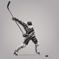Hockey player.Artwork in the style of ink drawing.