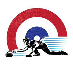 Curling sport.Illustration in the engraving style.
