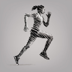 Running woman. Artwork in the style of ink drawing.