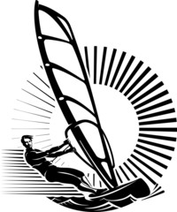 Windsurfing. Illustration in the engraving style.