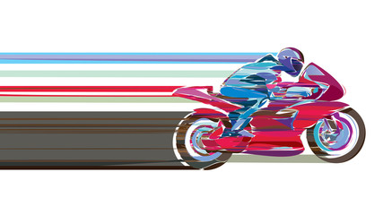 Artistic stylized motorcycle racer in motion.