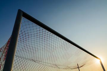 Soccer goal with blue sky