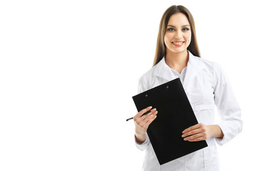 Young beautiful doctor with clipboard isolated on white
