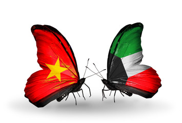 Two butterflies with flags Vietnam and Kuwait