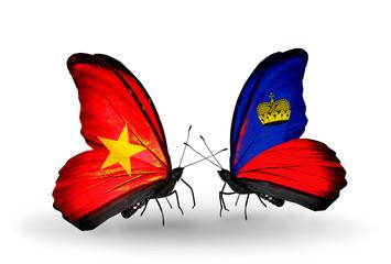 Two butterflies with flags Vietnam and Liechtenstein
