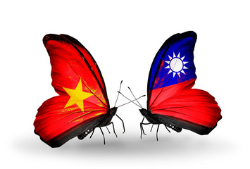 Two butterflies with flags Vietnam and Taiwan