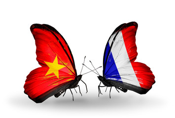 Two butterflies with flags Vietnam and France