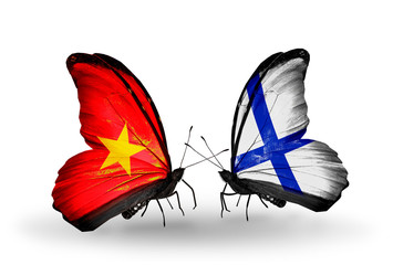 Two butterflies with flags Vietnam and Finland