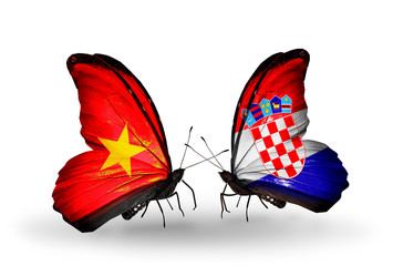 Two butterflies with flags Vietnam and Croatia