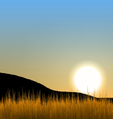 Sunrise with sun, mountain and grass field