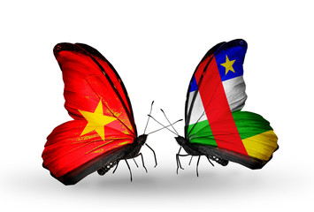 Two butterflies with flags Vietnam and Central African Republic