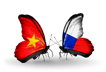 Two butterflies with flags Vietnam and Czech