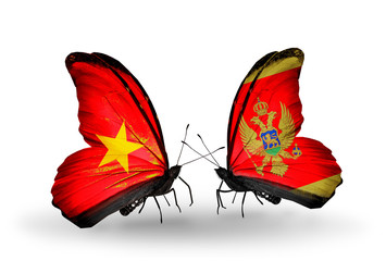 Two butterflies with flags Vietnam and Montenegro
