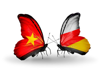 Two butterflies with flags Vietnam and South Ossetia