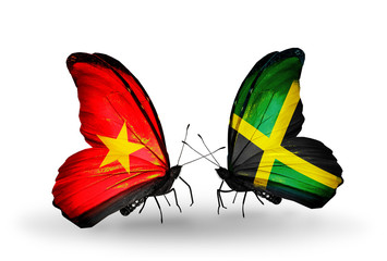 Two butterflies with flags Vietnam and Jamaica