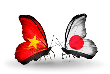 Two butterflies with flags Vietnam and  Japan