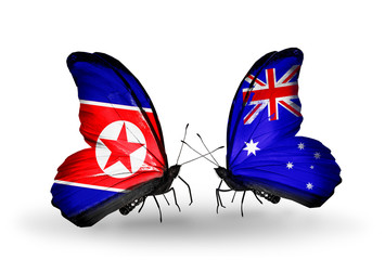 Two butterflies with flags North Korea and Australia