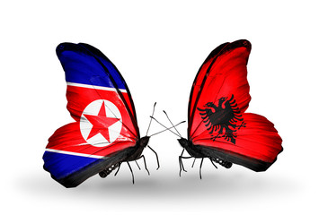 Two butterflies with flags North Korea and Albania