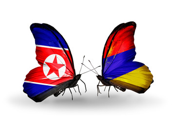 Two butterflies with flags North Korea and Armenia