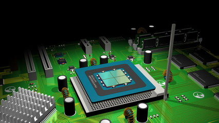 CPU and Computer Board 3D Animation