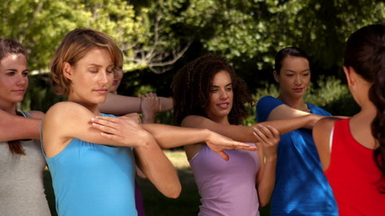 In high quality format fitness group warming up in park