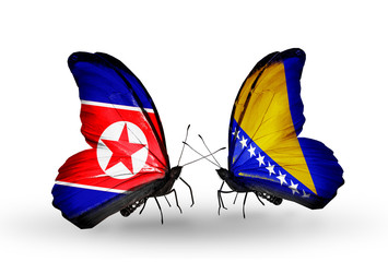 Two butterflies with flags North Korea and Bosnia