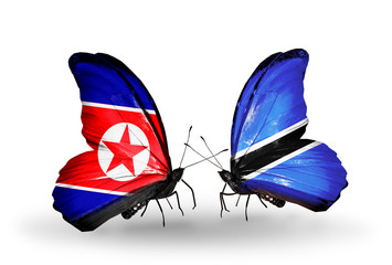 Two butterflies with flags North Korea and Botswana