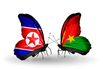 Two butterflies with flags North Korea and Burkina Faso