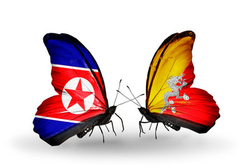Two butterflies with flags North Korea and Bhutan