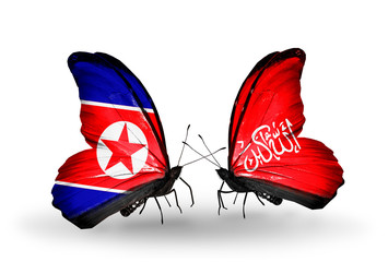 Two butterflies with flags North Korea and Waziristan