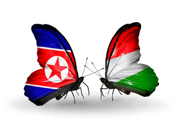 Two butterflies with flags North Korea and Hungary