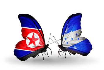 Two butterflies with flags North Korea and Honduras