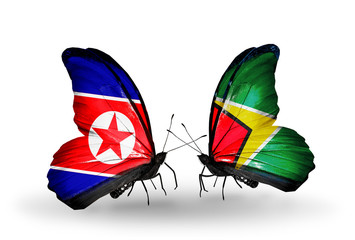 Two butterflies with flags North Korea and Guyana