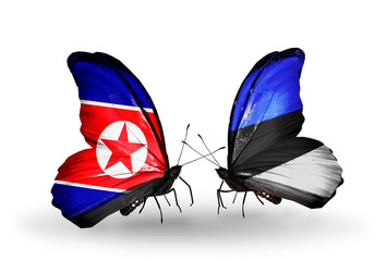 Two butterflies with flags North Korea and Estonia