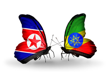 Two butterflies with flags North Korea and Ethiopia