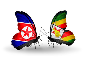 Two butterflies with flags North Korea and Zimbabwe