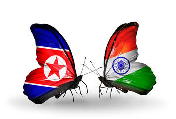 Two butterflies with flags North Korea and India