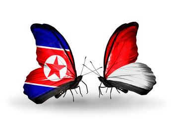 Two butterflies with flags North Korea and Monaco, Indonesia