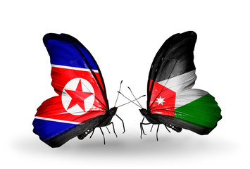 Two butterflies with flags North Korea and Jordan