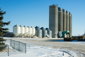 Bins and silos  on a farm yard